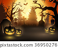 Halloween background with scary pumpkins 36950276