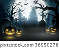 Halloween background with scary pumpkins 36950278