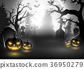 Halloween background with scary pumpkins 36950279