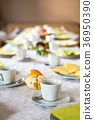 Beautiful festive dinner table colorful yellow 36950390