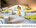 Beautiful festive dinner table colorful yellow 36950426