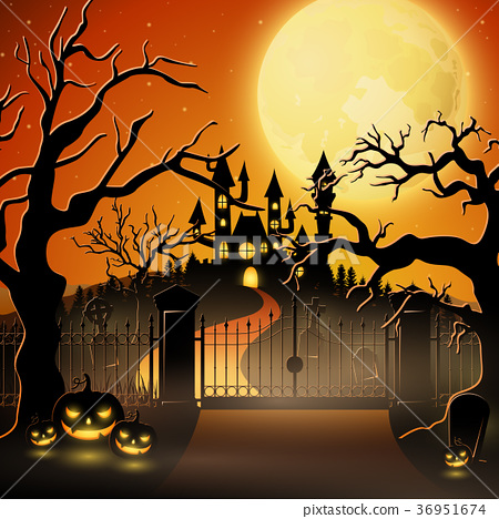 Creepy graveyard with castle and pumpkins 36951674