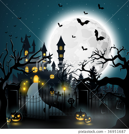 Creepy graveyard with castle and pumpkins 36951687