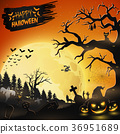 Halloween night background with pumpkins 36951689