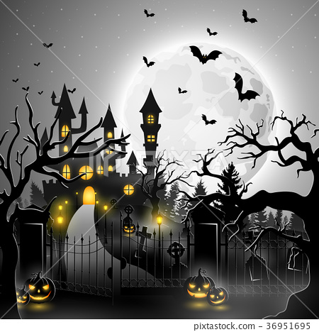 Creepy graveyard with castle and pumpkins 36951695