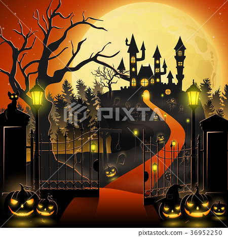 Creepy graveyard with castle and pumpkins 36952250