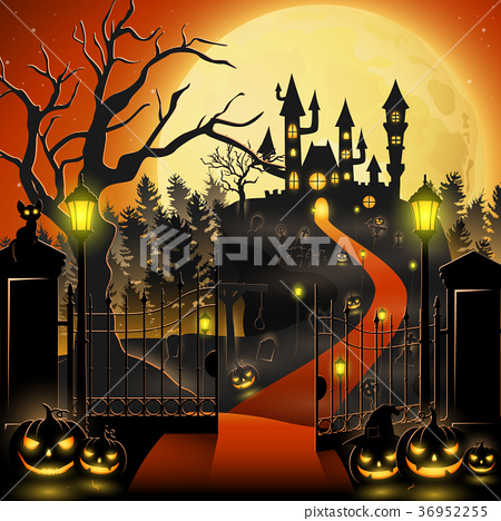Creepy graveyard with castle and pumpkins 36952255
