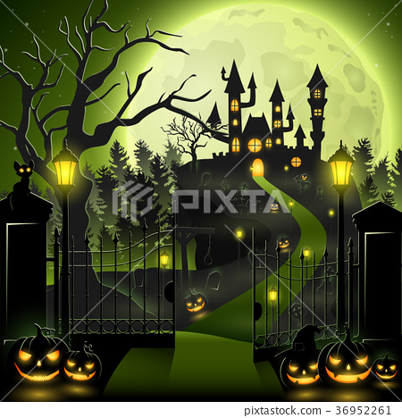 Creepy graveyard with castle and pumpkins 36952261
