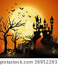 Cartoon halloween background with castle 36952263