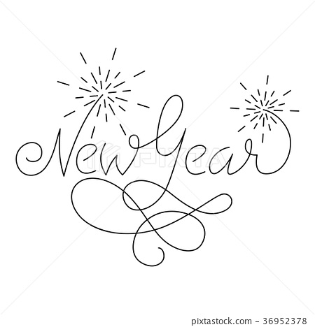 New Year lettering greeting card design with 36952378