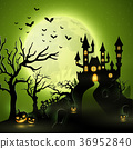Cartoon halloween background with castle 36952840