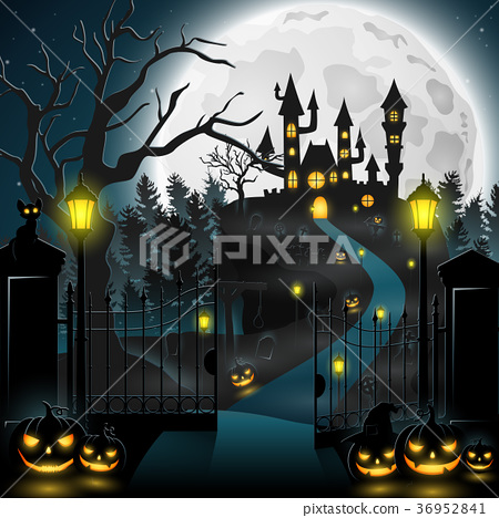Creepy graveyard with castle and pumpkins 36952841