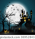 Cartoon halloween background with castle 36952843