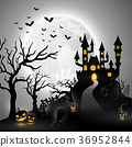 Cartoon halloween background with castle 36952844
