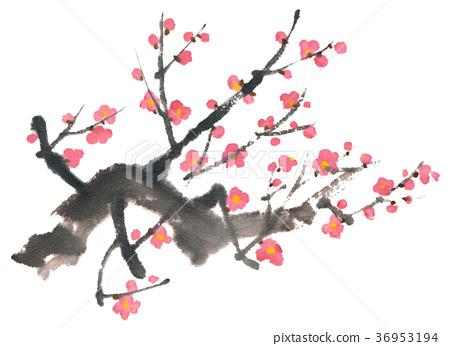 ภาพวาดหมึก Koume- ระบายสีดอกไม้มากมาย 36953194
