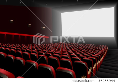 Cinema auditorium with red seats and white blank s 36953944