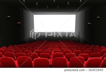 Cinema auditorium with red seats and white blank s 36953945