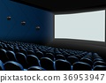 Cinema auditorium with blue seats and white blank  36953947