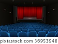 Theater stage with red curtains and blue seats 36953948
