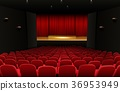 Theater stage with red curtains and seats 36953949