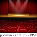 Theater stage with red curtains and seats 36953950