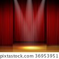 Empty stage with red curtain and spotlight on wood 36953951