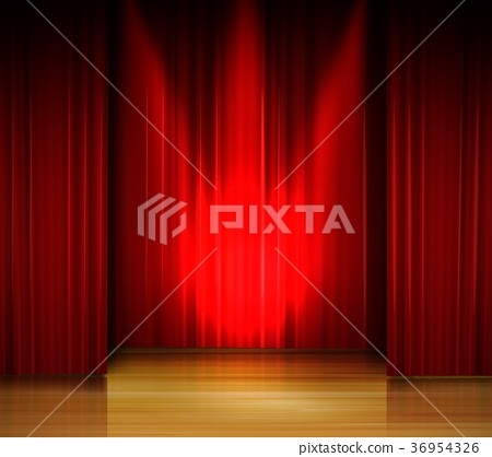 Empty stage with red curtain and spotlight on wood 36954326