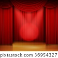 Empty stage with red curtain and spotlight on wood 36954327