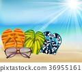 summer beach sandals colorful flip- flops with sun 36955161