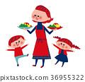 與母親攜帶食物交談的孩子 36955322