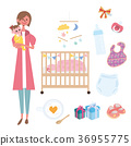 ภาพประกอบของผู้หญิงคนหนึ่งถือทารก 36955775