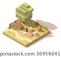 Vector isometric low poly campsite 36956041