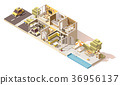 Vector isometric low poly house cross-section 36956137