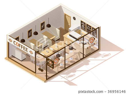 Vector isometric low poly coffee shop 36956146