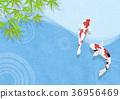 鲤鱼 树叶 日本风格 36956469