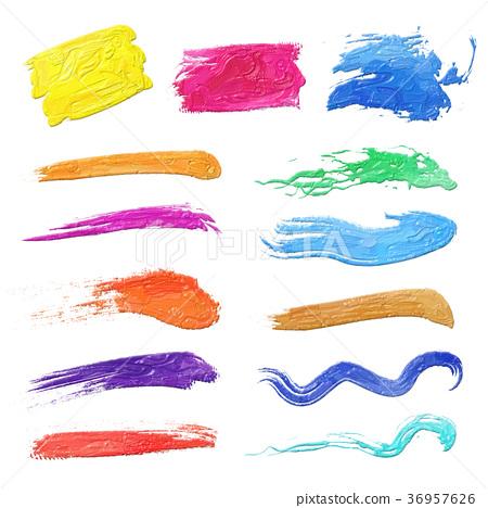 鮮豔 細緻으로 手繪 색연필 畫插 圖在 백색 배경 : 채색 붓 인쇄 오일 畫 36957626