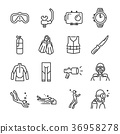 Scuba diving icon set. 36958278