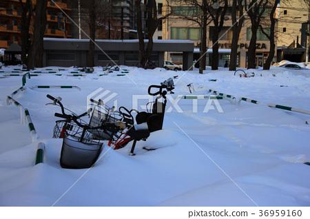 自行車埋在雪中 36959160