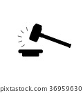 Vector of judge gavel, auction hammer icon 36959630