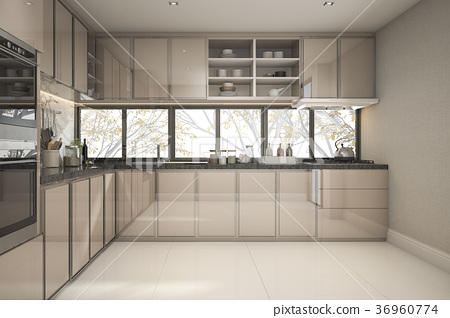 beautiful modern kitchen with marble decor 36960774