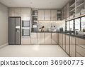 beautiful modern kitchen with marble decor 36960775