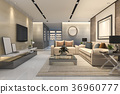 luxury and modern living room with leather sofa 36960777