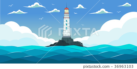 Blue sea with waves and lighthouse. 36963103