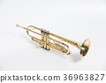 Gold lacquer trumpet with mouthpiece isolated on w 36963827