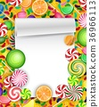 Colorful candy background with lollipop and orange 36966113