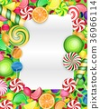 Colorful candy background with lollipop and orange 36966114