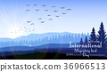 Birds migratory day with mountains and palm tree o 36966513