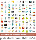 100 medical journal icons set, flat style 36967654
