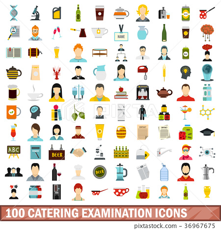 100 catering examination icons set, flat style 36967675