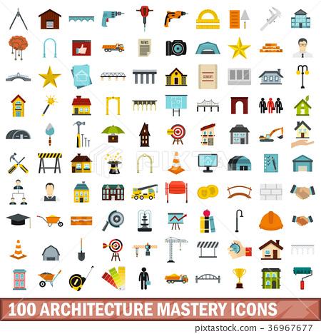 100 architecture mastery icons set, flat style 36967677